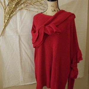 "Eloquii Red ""cold-elbow"" sweater"